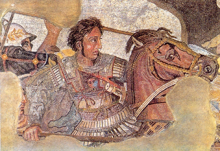 Alexander the Great and his mount, Bucephalus, during the Battle of Issus in the fourth century BC. This mosaic was discovered on the island of Pompeii.