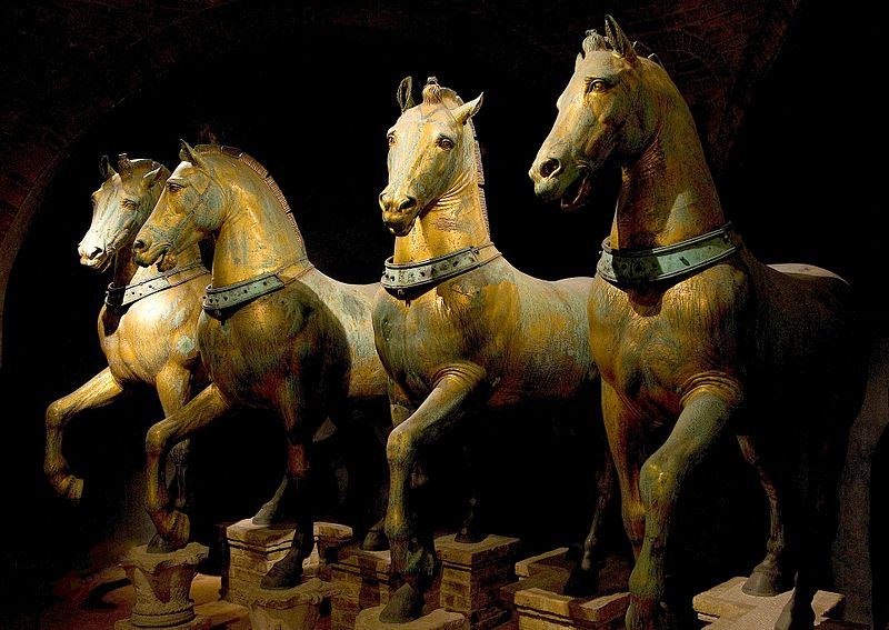 The ancient Triumphal Quadriga displayed inside the museum of St. Mark's Basilica.