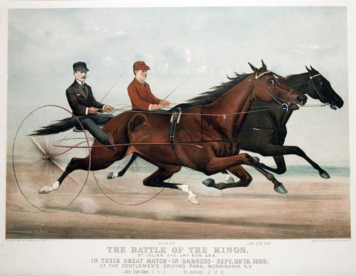 St. Julien (front) portrayed in a match race with Jay Eye See (1884).