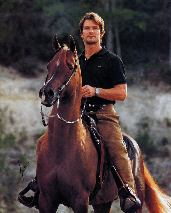 Patrick and Tammen on the cover of the May 1996 issue of Arabian Horse World. Photo by Javan Schaller